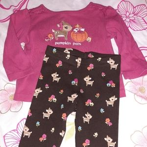 Gymboree Woodland Friends Deer Pumpkin Outfit 6 12